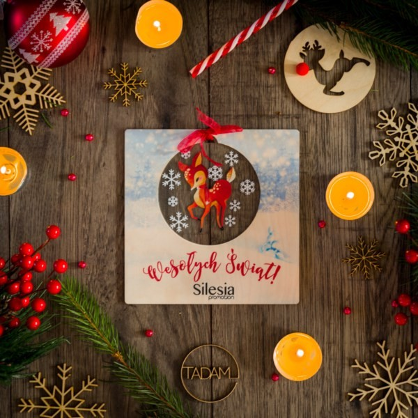 Kartka świąteczna z sarną