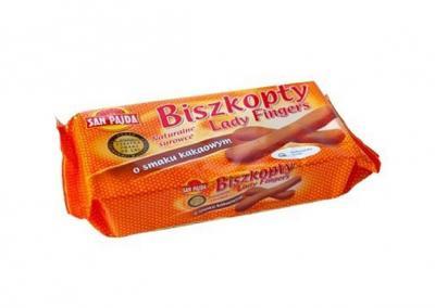Biszkopty Lady Fingers San-Pajda o smaku kakaowym