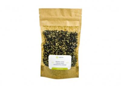 Herbata czarna z liściem mięty i kwiatem bzu czarnego
