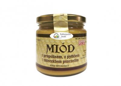 Miód z  propolisem, pyłkiem i mleczkiem  pszczelim